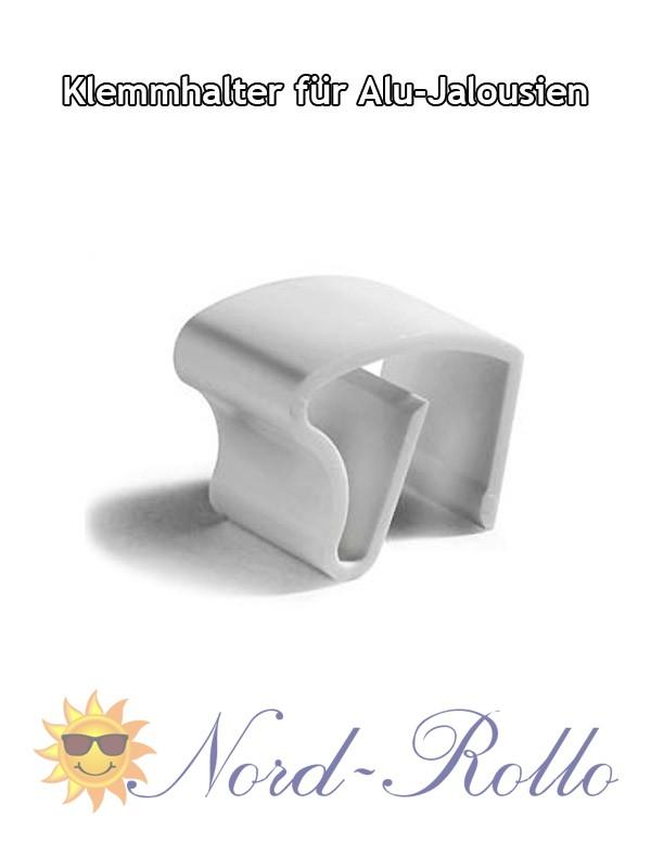 2 Stück Klemmträger Klemmhalter weiss für 25 mm Alu-Jalousien Jalousetten